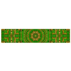 Wonderful Mandala Of Green And Golden Love Small Flano Scarf