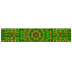 Wonderful Mandala Of Green And Golden Love Large Flano Scarf