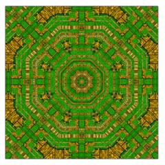 Wonderful Mandala Of Green And Golden Love Large Satin Scarf (square)