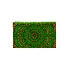 Wonderful Mandala Of Green And Golden Love Cosmetic Bag (xs)
