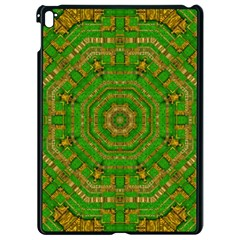 Wonderful Mandala Of Green And Golden Love Apple Ipad Pro 9 7   Black Seamless Case