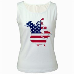 Flag Map Of Canada And United States (american Flag) Women s White Tank Top