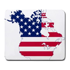 Flag Map Of Canada And United States (american Flag) Large Mousepads by goodart