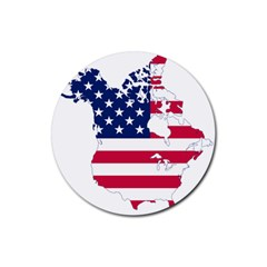 Flag Map Of Canada And United States (american Flag) Rubber Coaster (round)