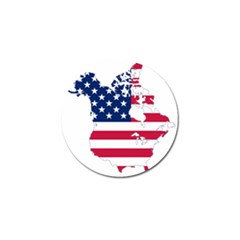 Flag Map Of Canada And United States (american Flag) Golf Ball Marker (10 Pack)