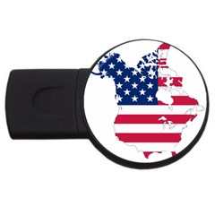 Flag Map Of Canada And United States (american Flag) Usb Flash Drive Round (2 Gb)