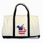Flag Map Of Canada And United States (american Flag) Two Tone Tote Bag Front