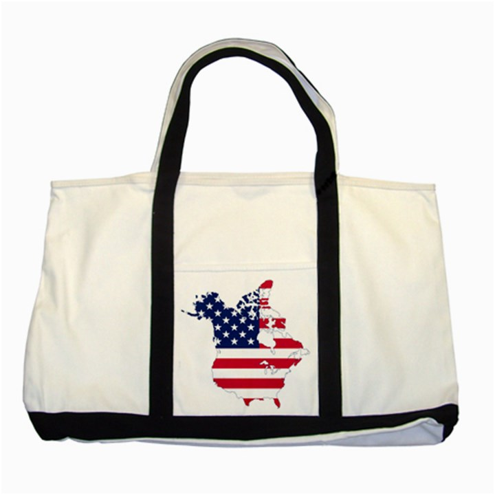 Flag Map Of Canada And United States (american Flag) Two Tone Tote Bag