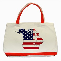 Flag Map Of Canada And United States (american Flag) Classic Tote Bag (red) by goodart