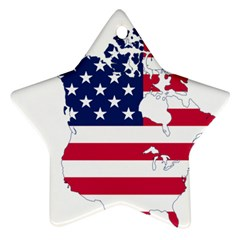 Flag Map Of Canada And United States (american Flag) Star Ornament (two Sides)