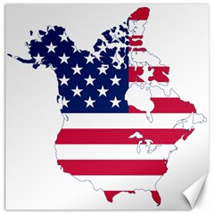 Flag Map Of Canada And United States (american Flag) Canvas 20  X 20