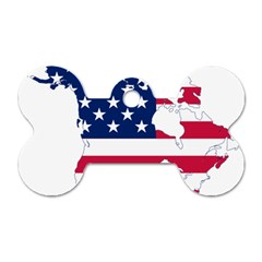 Flag Map Of Canada And United States (american Flag) Dog Tag Bone (one Side) by goodart