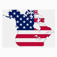 Flag Map Of Canada And United States (american Flag) Large Glasses Cloth