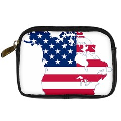 Flag Map Of Canada And United States (american Flag) Digital Camera Cases