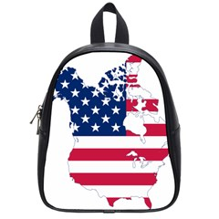 Flag Map Of Canada And United States (american Flag) School Bag (small) by goodart