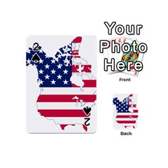 Flag Map Of Canada And United States (american Flag) Playing Cards 54 (mini)