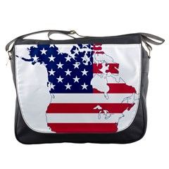 Flag Map Of Canada And United States (american Flag) Messenger Bags