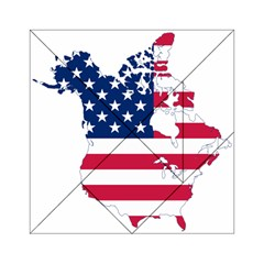 Flag Map Of Canada And United States (american Flag) Acrylic Tangram Puzzle (6  X 6 ) by goodart