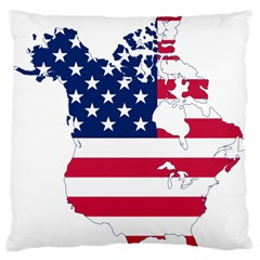Flag Map Of Canada And United States (american Flag) Large Cushion Case (two Sides)