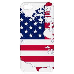 Flag Map Of Canada And United States (american Flag) Apple Iphone 5 Hardshell Case by goodart