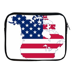 Flag Map Of Canada And United States (american Flag) Apple Ipad 2/3/4 Zipper Cases by goodart