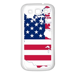 Flag Map Of Canada And United States (american Flag) Samsung Galaxy S3 Back Case (white)