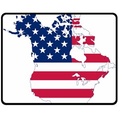 Flag Map Of Canada And United States (american Flag) Double Sided Fleece Blanket (medium)  by goodart
