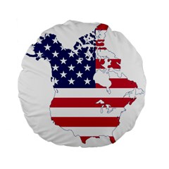 Flag Map Of Canada And United States (american Flag) Standard 15  Premium Flano Round Cushions by goodart
