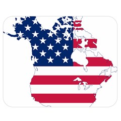 Flag Map Of Canada And United States (american Flag) Double Sided Flano Blanket (medium)