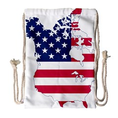 Flag Map Of Canada And United States (american Flag) Drawstring Bag (large)