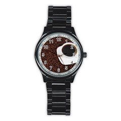 Coffee Stainless Steel Round Watch