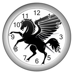 Peo Pegasus Black  Wall Clocks (silver)