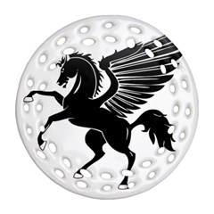 Peo Pegasus Black  Ornament (round Filigree)