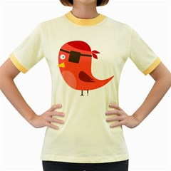 Pirate Bird Vector Clipart Women s Fitted Ringer T Shirts
