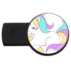 Pastel Unicorn Vector Clipart Usb Flash Drive Round (4 Gb)