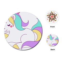 Pastel Unicorn Vector Clipart Playing Cards (round)
