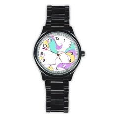 Pastel Unicorn Vector Clipart Stainless Steel Round Watch