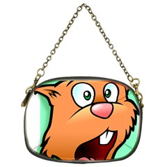 Surprised Chipmunk Face Vector Art Chain Purses (one Side)