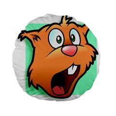 Surprised Chipmunk Face Vector Art Standard 15  Premium Flano Round Cushions
