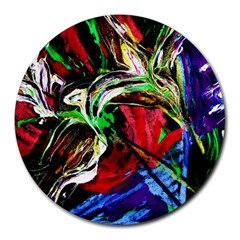 Lillies In Terracota Vase Round Mousepads by bestdesignintheworld