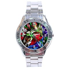 Lillies In Terracota Vase Stainless Steel Analogue Watch