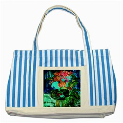 Flowers On The Tea Table Striped Blue Tote Bag
