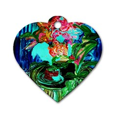 Flowers On The Tea Table Dog Tag Heart (two Sides)