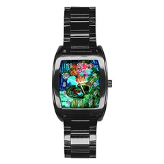 Flowers On The Tea Table Stainless Steel Barrel Watch by bestdesignintheworld