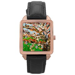 Coral Tree Rose Gold Leather Watch