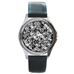 Black And White Patchwork Pattern Round Metal Watch by dflcprints