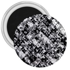 Black And White Patchwork Pattern 3  Magnets