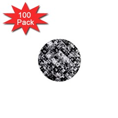 Black And White Patchwork Pattern 1  Mini Magnets (100 Pack)