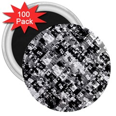 Black And White Patchwork Pattern 3  Magnets (100 Pack)