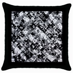 Black And White Patchwork Pattern Throw Pillow Case (black)